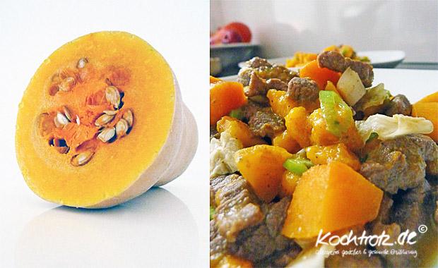 Curry mit Butternut-Kürbis und Steakstreifen