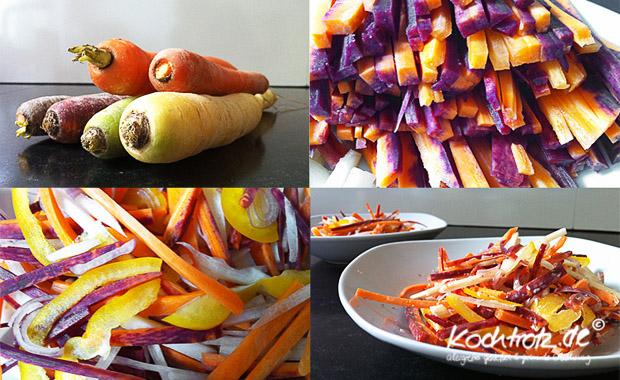 bunter Karottensalat mit Kokosdressing