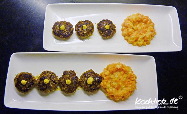 Spezial-Frikadellen und Karotten-Pastinaken-Stampf