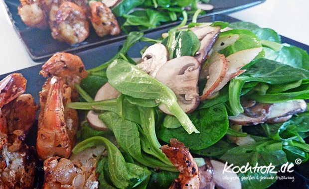 Feldsalat mit Champignons und Birnen