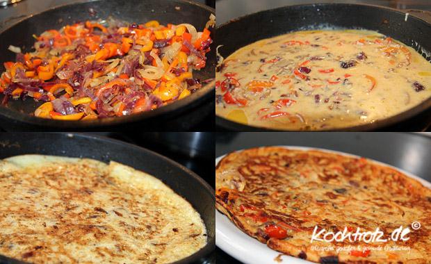 Eierkuchen mit Zwiebeln, Parika und Parmesan