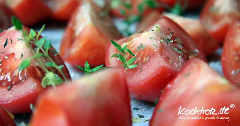 Vorbereitung für getrocknete tomaten