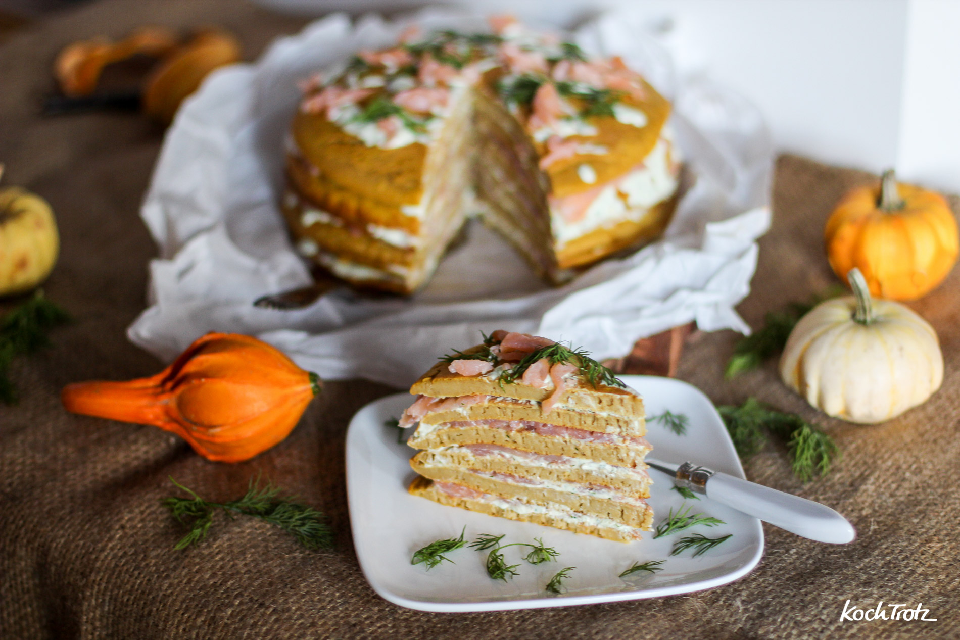 Kürbis-Pancake-Torte – toll für Parties und Buffets – glutenfrei, laktosefrei, nussfrei und sojafrei