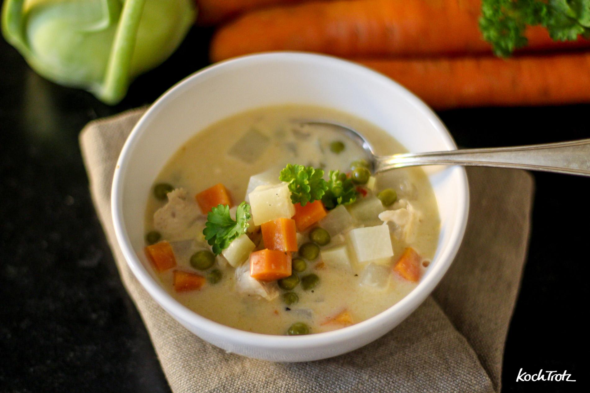 Kohlrabi-Karotten-Erbsen-Eintopf oder auch Frikassee für Arme genannt :)