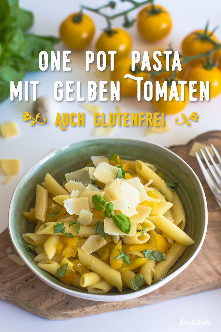 one pot pasta mit gelben tomaten optional glutenfrei histaminarm vegan kochtrotz. Black Bedroom Furniture Sets. Home Design Ideas