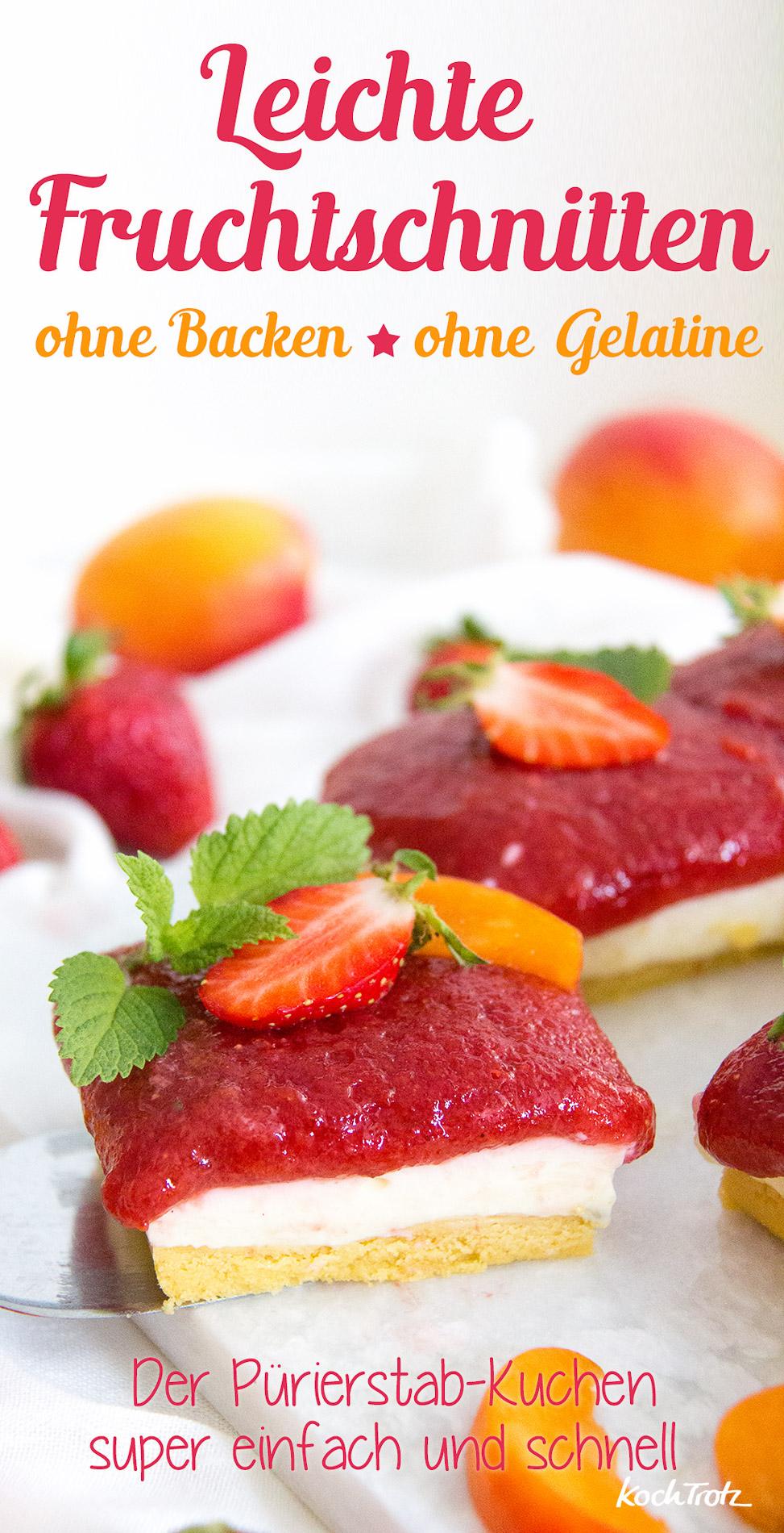 Leichte Fruchtschnitte ohne Backen | Pürierstabkuchen | ohne Gelatine | glutenfrei | eifrei | optional vegan | KochTrotz