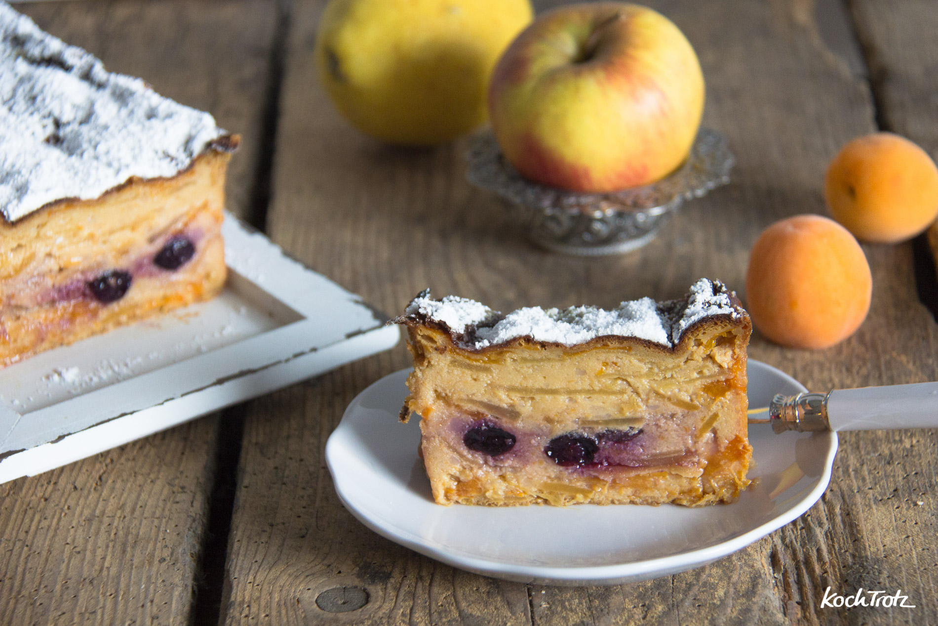 Gâteau invisible | Superkuchen | Fruchtkuchen mit wenig Mehl und wenig Zucker