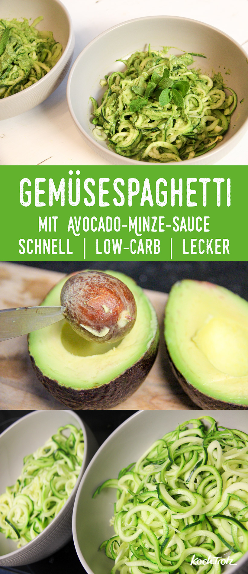 Gemüsespaghetti mit Avocado-Minze-Sauce | schnell | low-carb | lecker | Zoodles