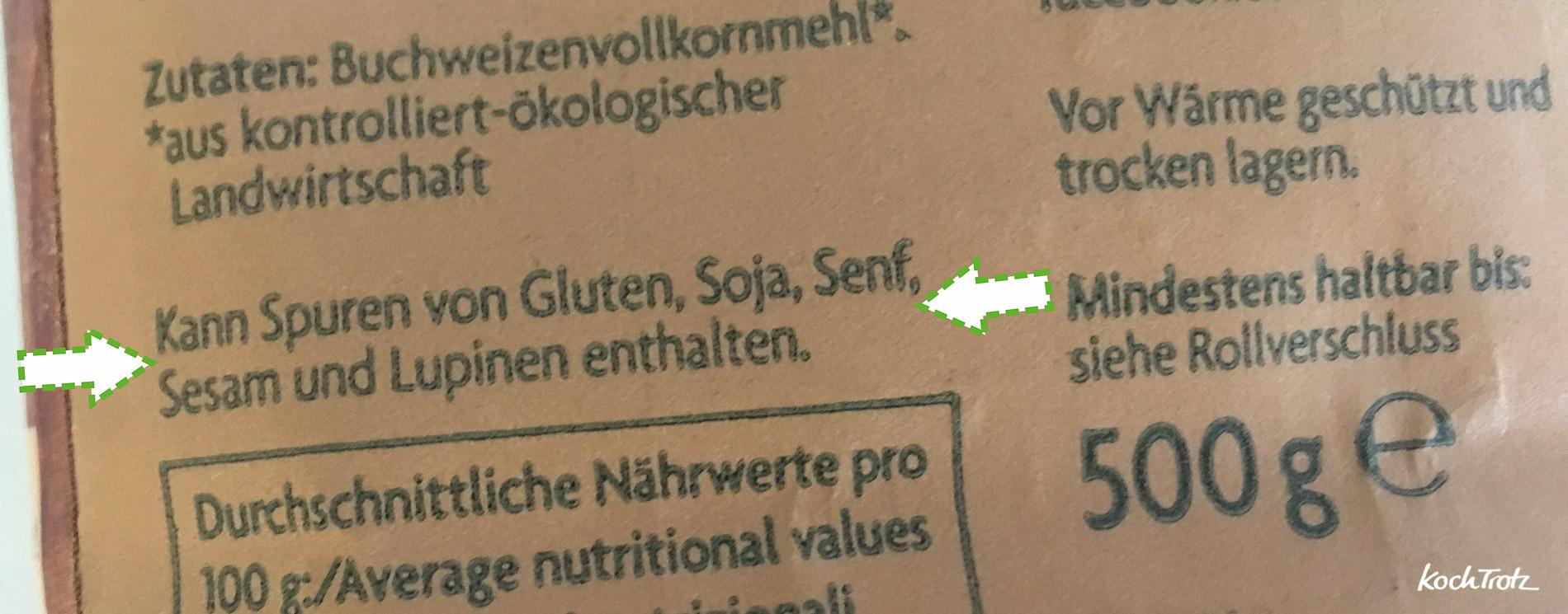 Spurenhinweis | versteckte Glutenquellen bei glutenfreien Lebensmitteln | darauf ist zu achten