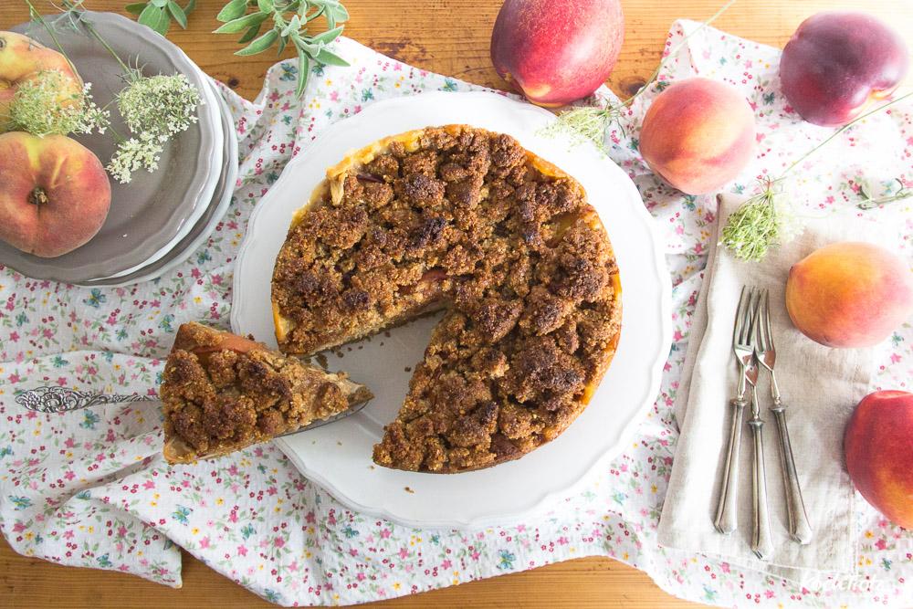 Pfirsich-Pudding-Streuselkuchen mit Teffmehl | glutenfrei | nussfrei | optional vegan | variables Rezept