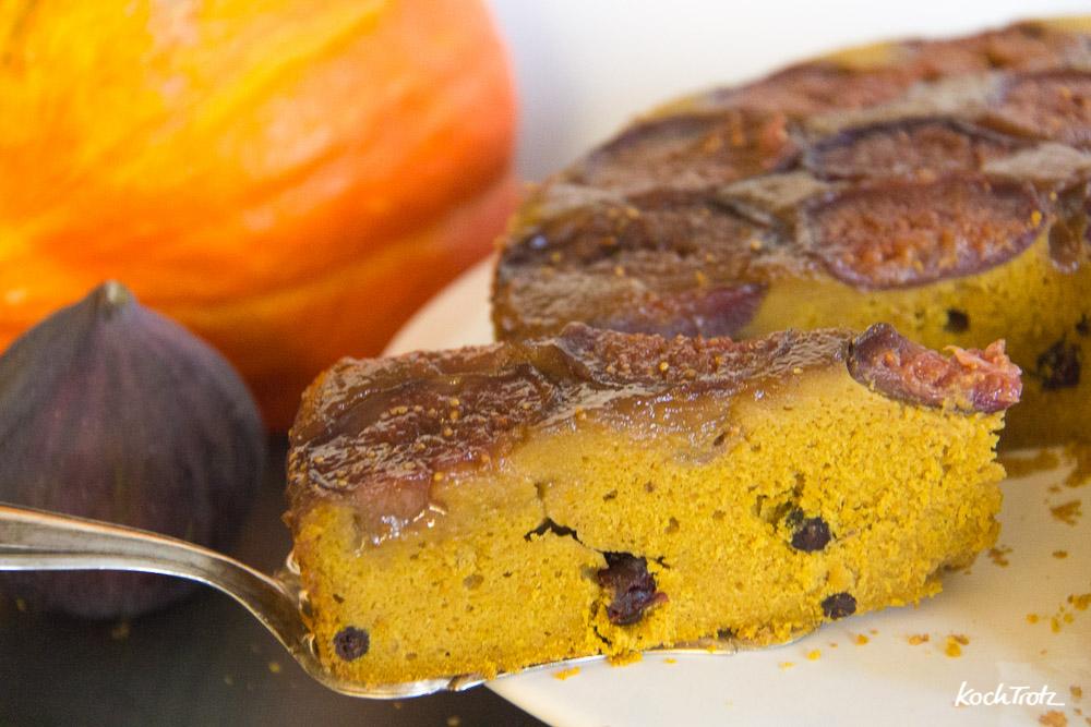 Feigen-Kürbis-Kuchen upside down   glutenfrei   ohne Fertigmehle