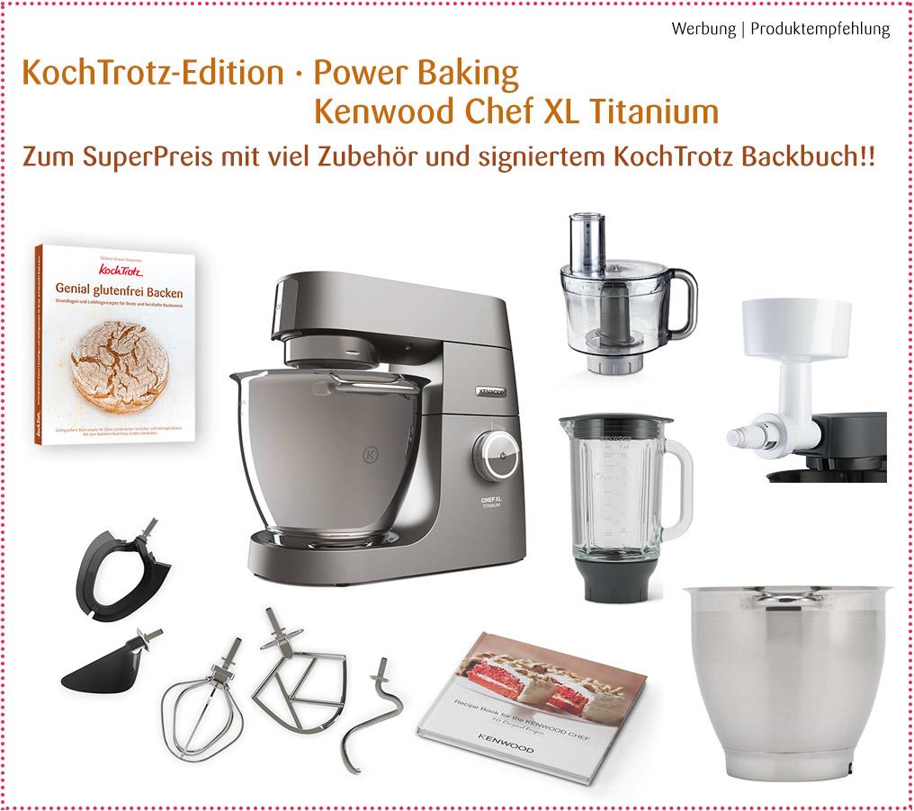 """Angebot! KochTrotz Edition """"Power Baking"""" Kenwood Chef XL Titanium mit viel Zubehör"""
