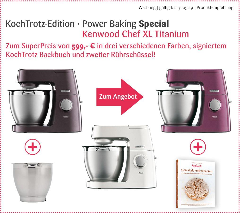 Angebot! Kenwood Chef XL Titanium Color - in drei verschiedenen Farben. Produktpaket mit zweiter Rührschüssel und signiertem KochTrotz Backbuch für 599,- €