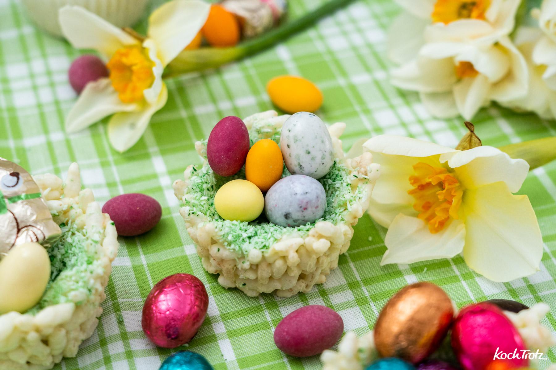 Schokoladen-Osternester mit Puffreis oder anderem gepufftem Getreide