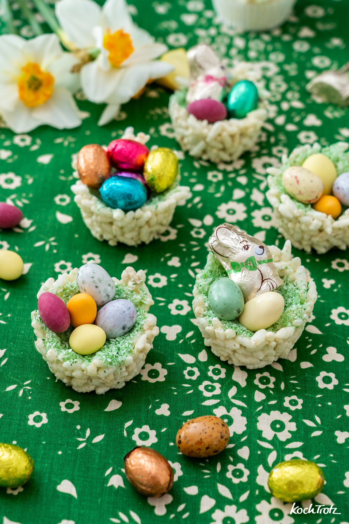 Schokoladen-Osternester mit Puffreis oder andrem gepufftem Getreide