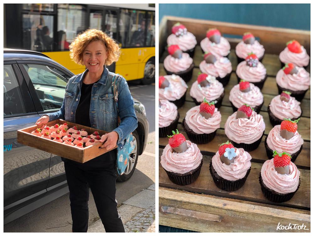 Cupcakes mit Brownie-Muffin und Erdbeer-Frischkäse-Frosting | glutenfrei | laktosefrei | eifrei