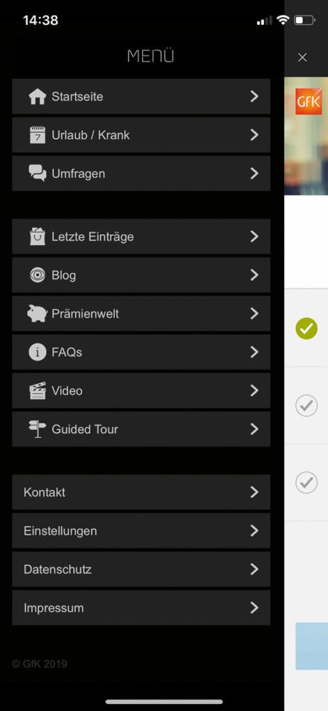 GfK Smartscan App Menü