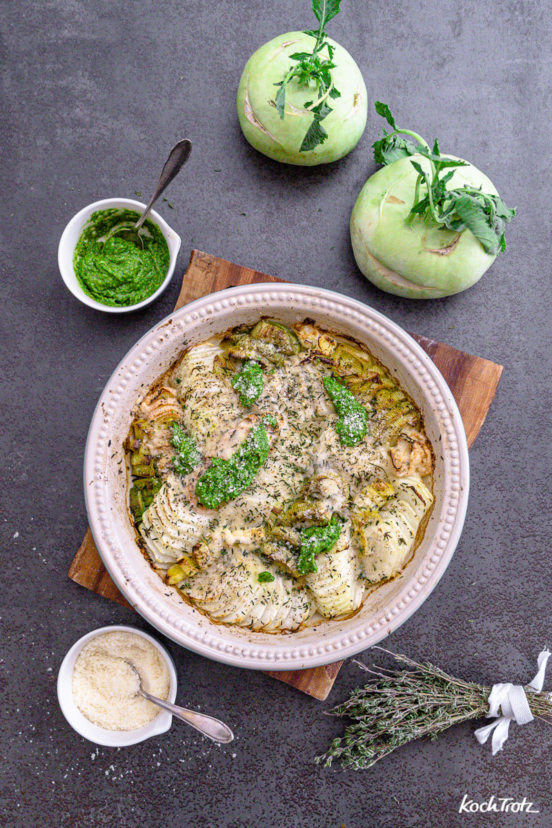 Ofen-Kohlrabi, einfaches Rezept