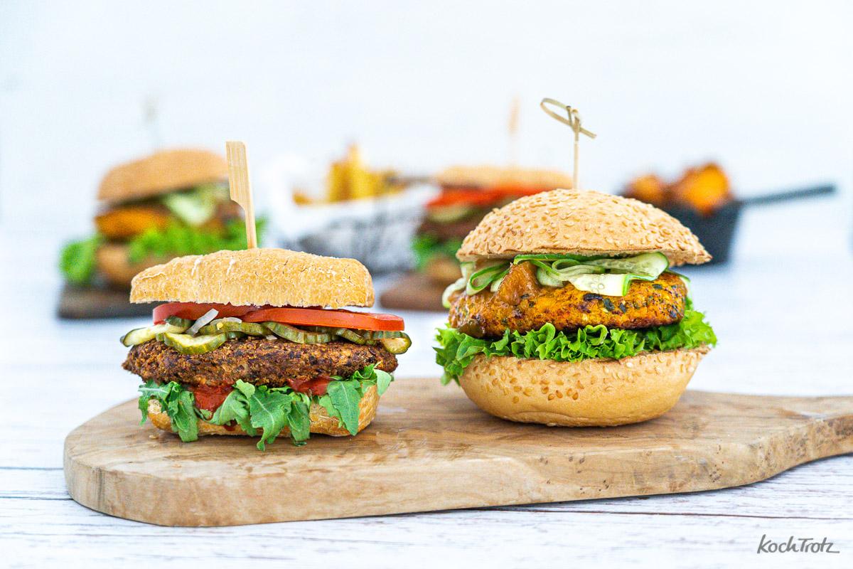 Burger Party Champignon Burger und Haferlfocken-Gemüse Burger, glutenfrei laktosefrei vegetarisch