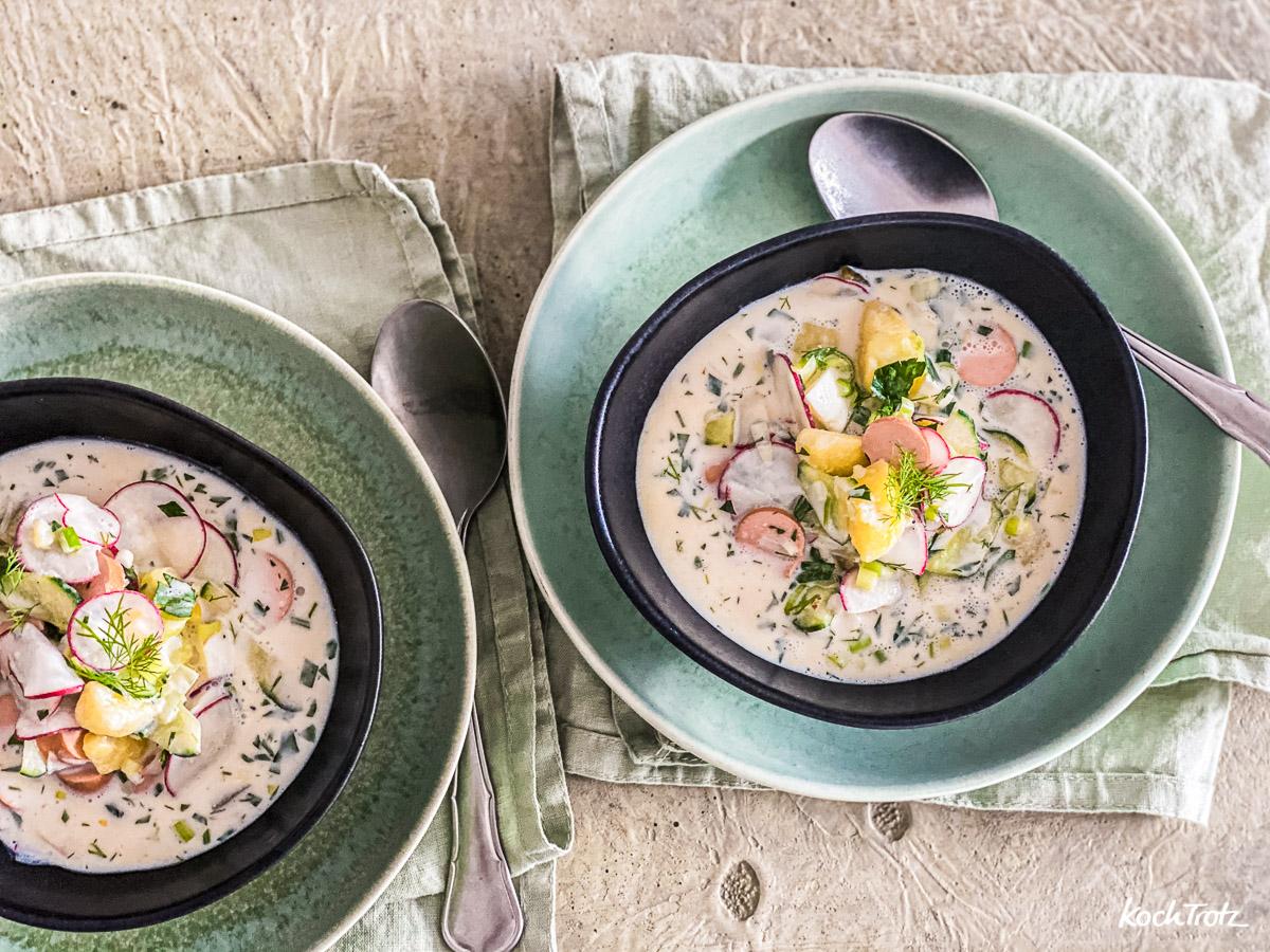 Rezept Okroschka kalte Suppe wahlweise vegetarisch