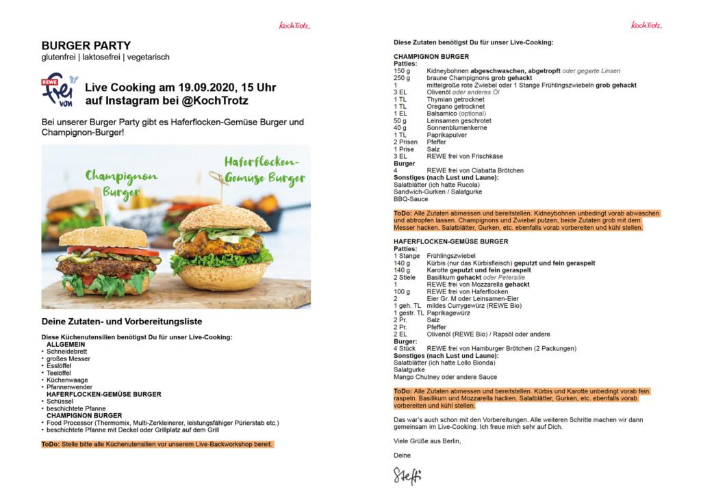 Burger Party mit REWE frei von Liste für die Vorbereitungen