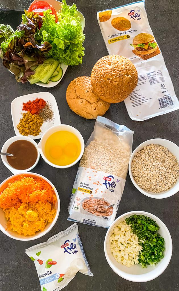 Zutaten Rezept Haferflocken-Gemüse Burger glutenfrei, laktosefrei, vegetarisch