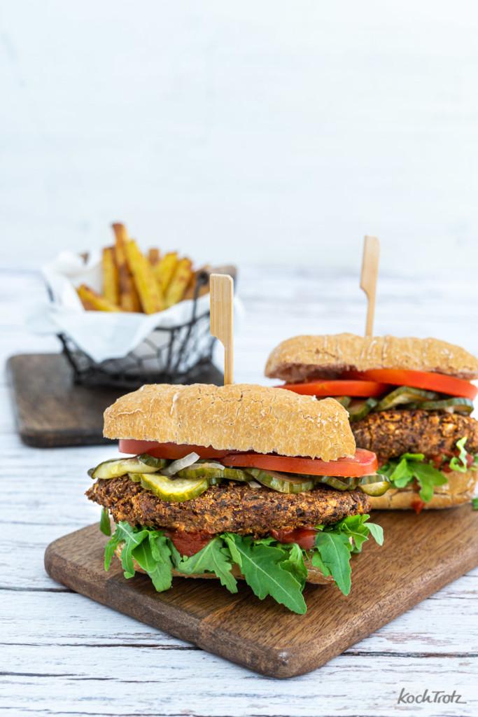 Pilz-Burger glutenfrei laktosefrei vegan Rezept