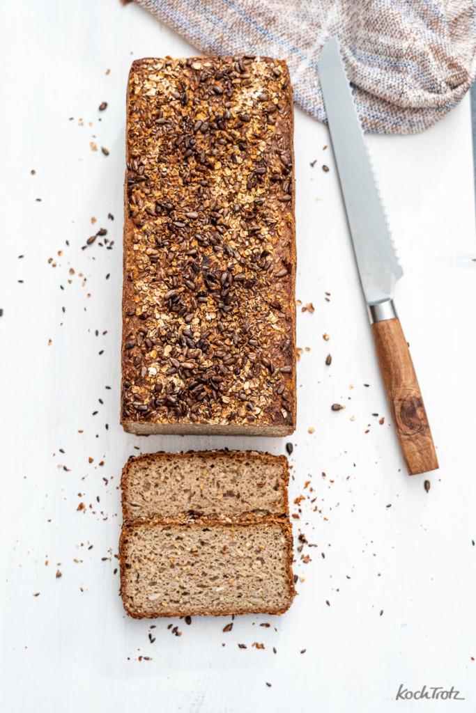 Rezept glutenfreies Sauerteigbrot ohne Kneten Vollkornkasten