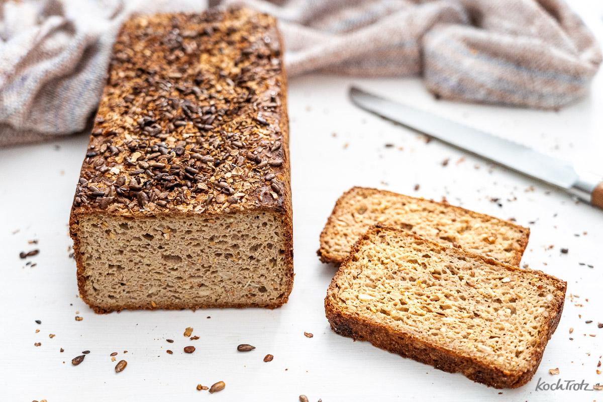 Rezept Vollkornkasten glutenfreies Sauerteigbrot ohne Kneten