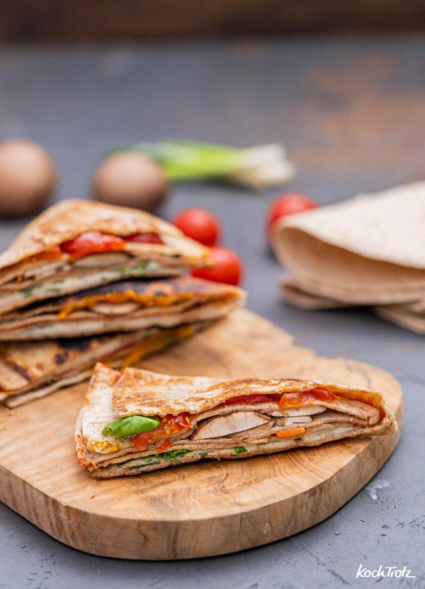 Pizzastyle Tortilla Wrap gefaltet