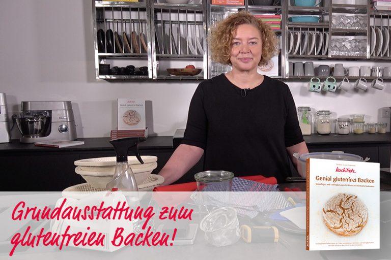 KochTrotz Video mit der Vorstellung der Grundausstattung zum glutenfreien Backen.