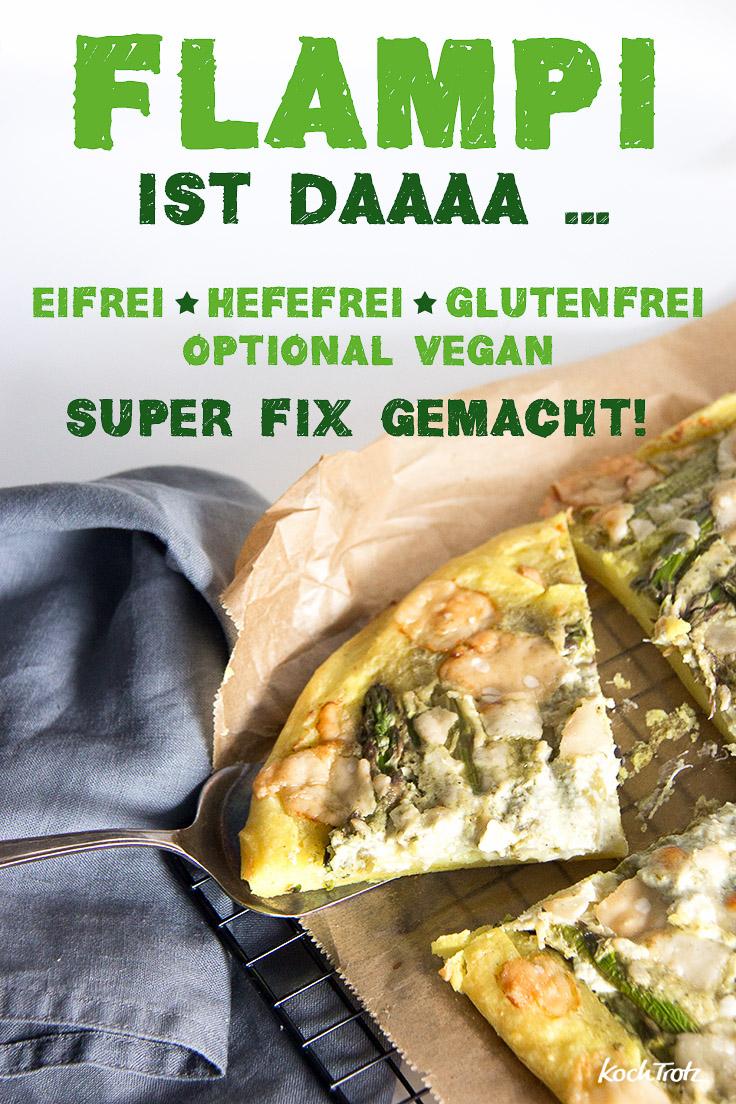 Flampi   eine Mischung aus Flammkuchen und dicker Pizza   eifrei   hefefrei   glutenfrei   optional vegan   KochTrotz