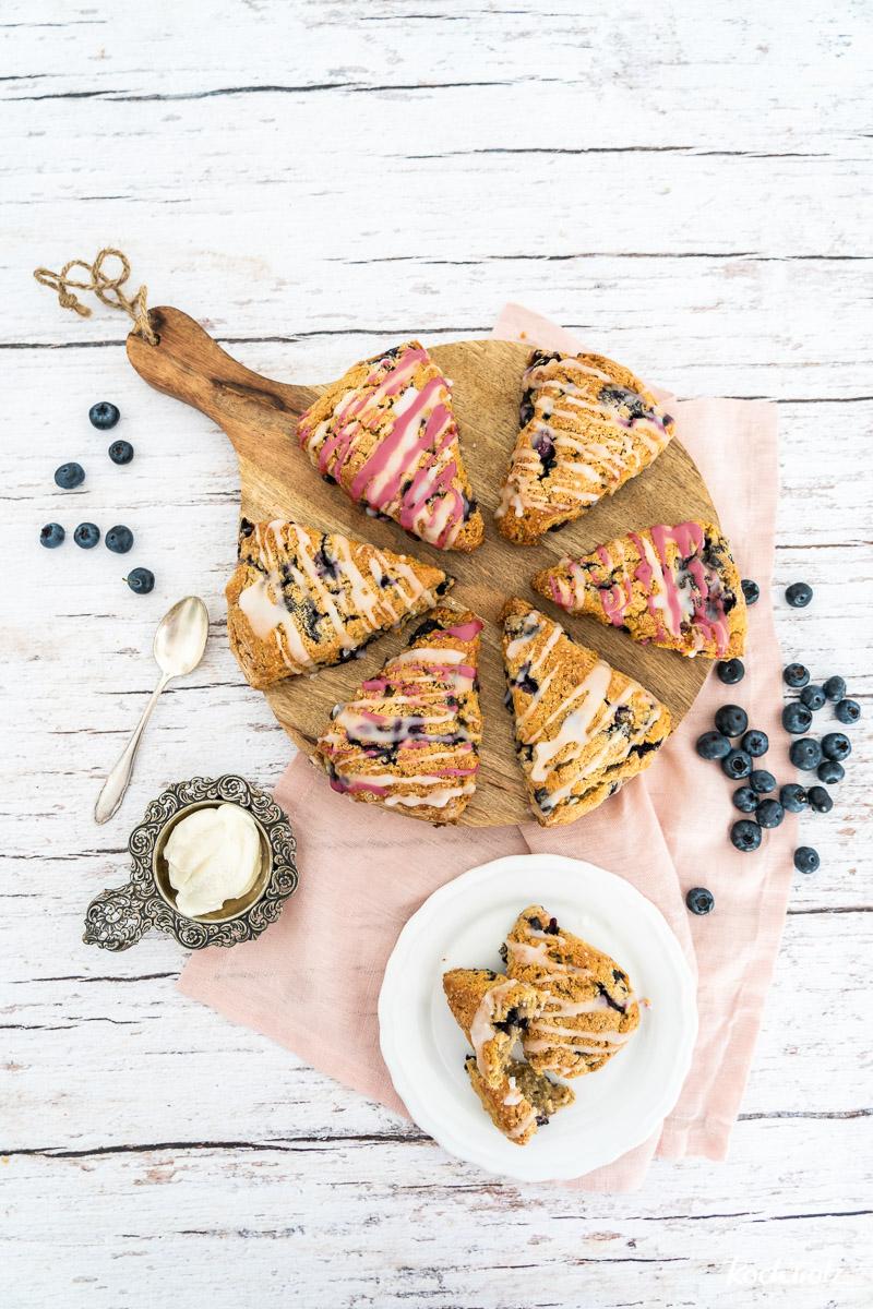Rezept Heidelbeer-Scones   glutenfrei oder normal   britisches Teegebäck   Blueberry Cream Scones