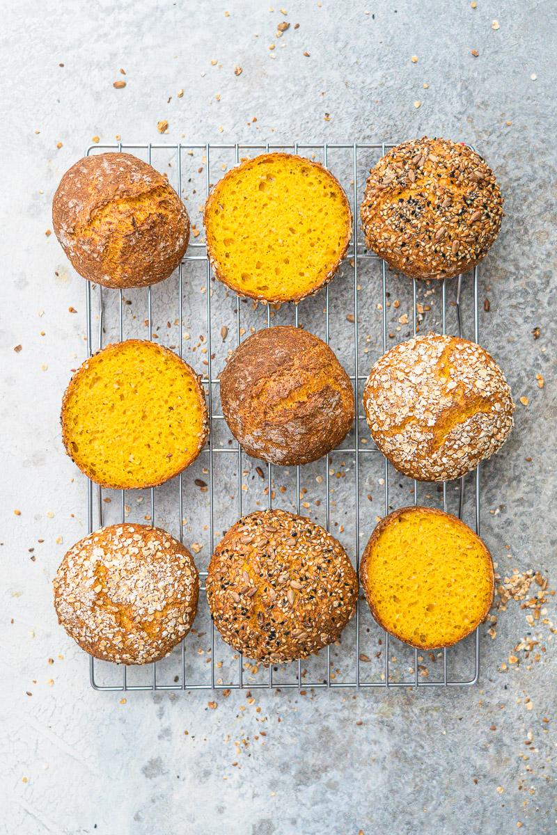 Rezept einfache Karottenbrötchen wahlweise glutenfrei oder mit Weizen/Dinkel