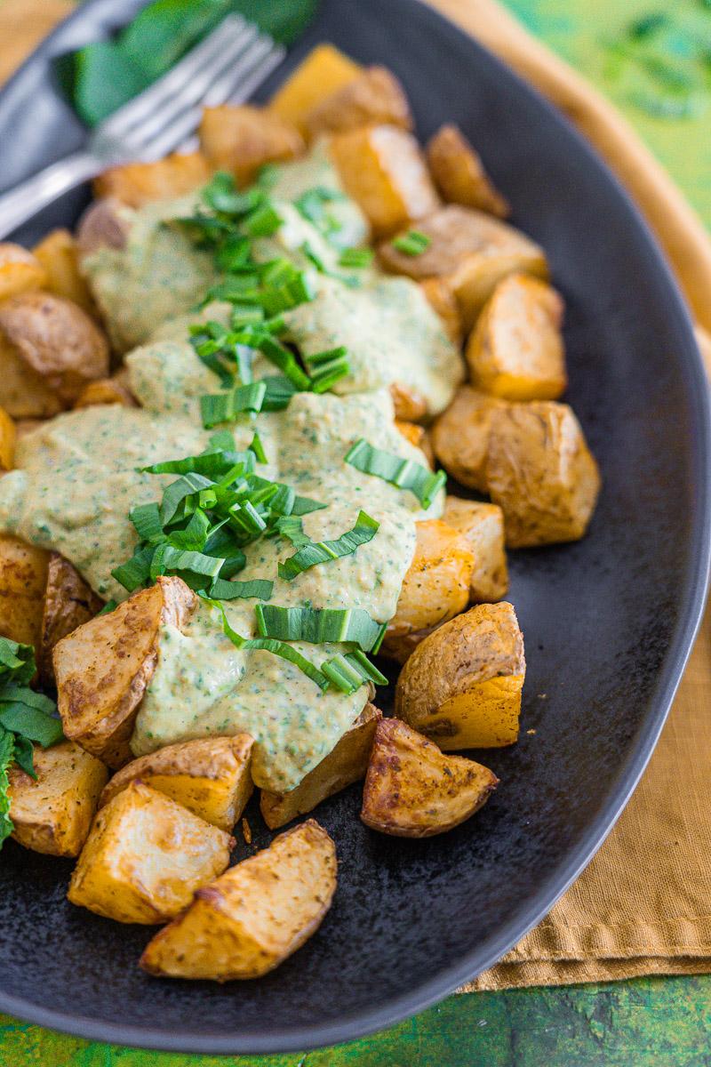 Rezept Kartoffeln mit Bärlauch-Creme aus dem Airfryer oder Backofen