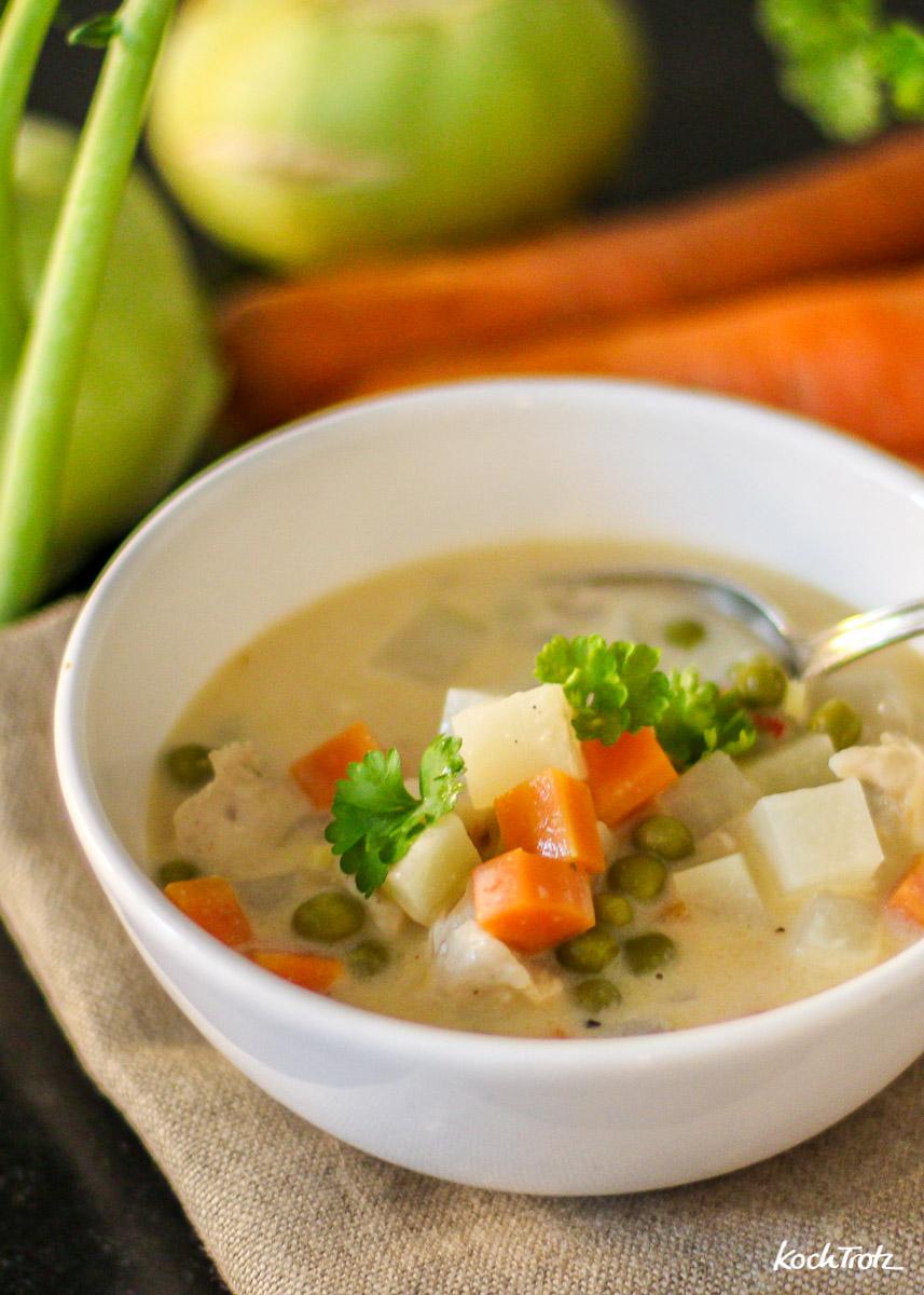 Frikassee für Arme - Kohlarbi-Karotten-Erbsen-Eintopf