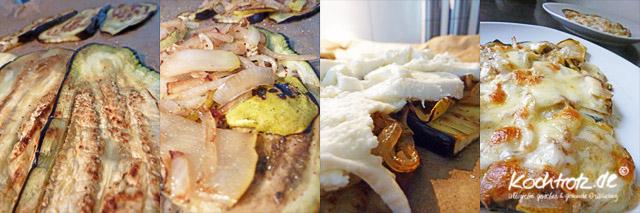 Arbeitsschritte, überbackene Aubergine mit Birne, Röstzwiebeln und Mozarella