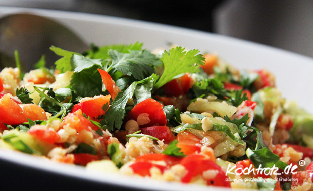 Salat mit roten Linsen