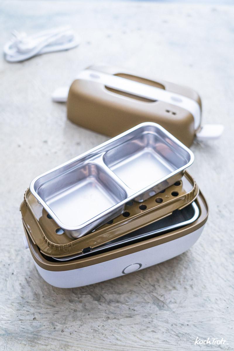 Die Gareinsätze der Miji Cookingbox One lassen sich variabel verwenden.
