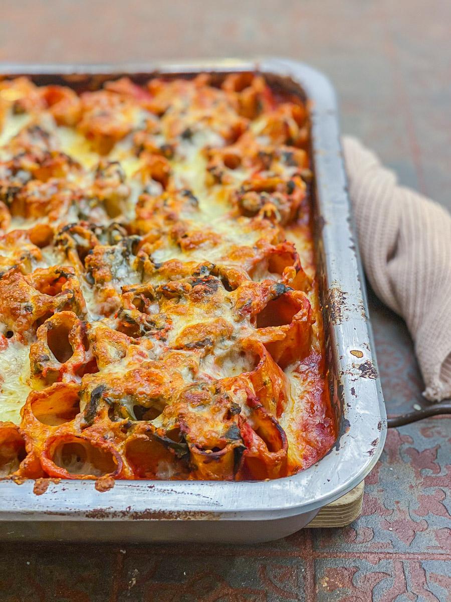 Rezept Nudelauflauf mit Ofen-Tomatensauce