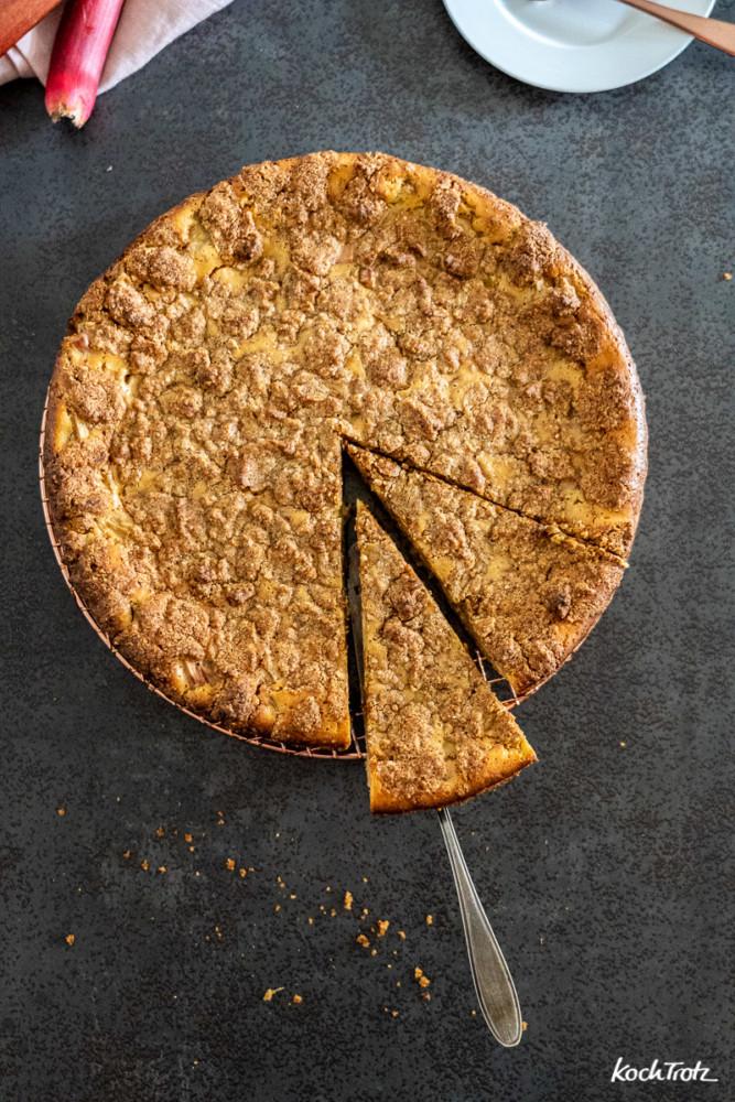 Rhabarber-Streuselkuchen normal oder glutenfrei, ohne Ei