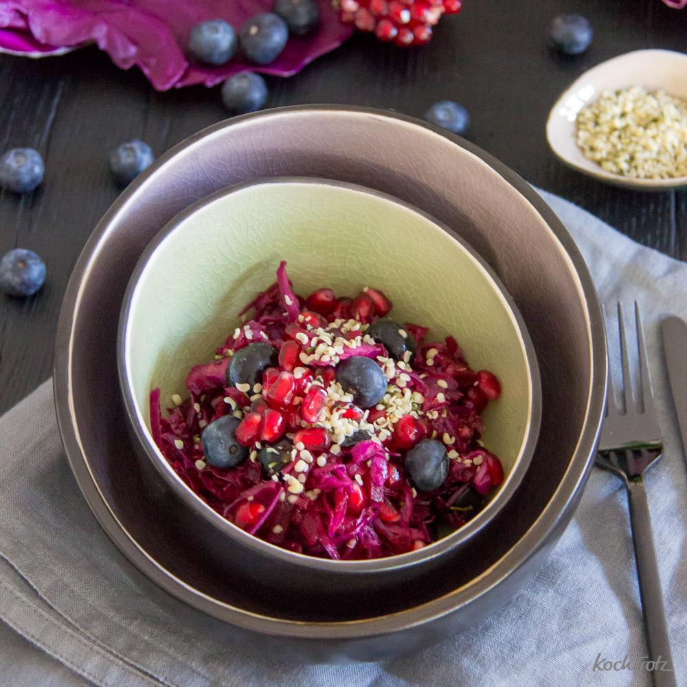 Salat mit rotem Spritzkohl, Rote Bete, Heidelbeeren und Granatapfel | Köstlich und sehr gut verträglich