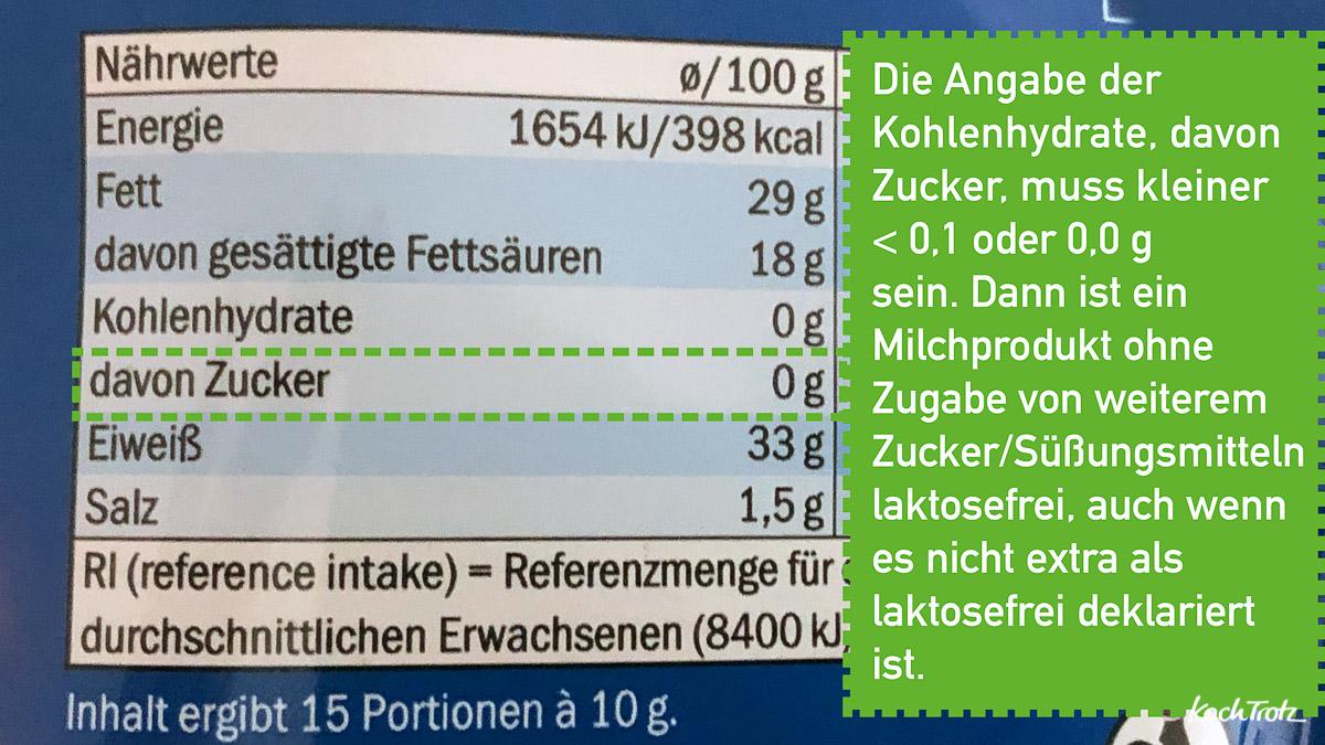 Laktosegehalt in Milchprodukte ohne Zuckerzugabe feststellen