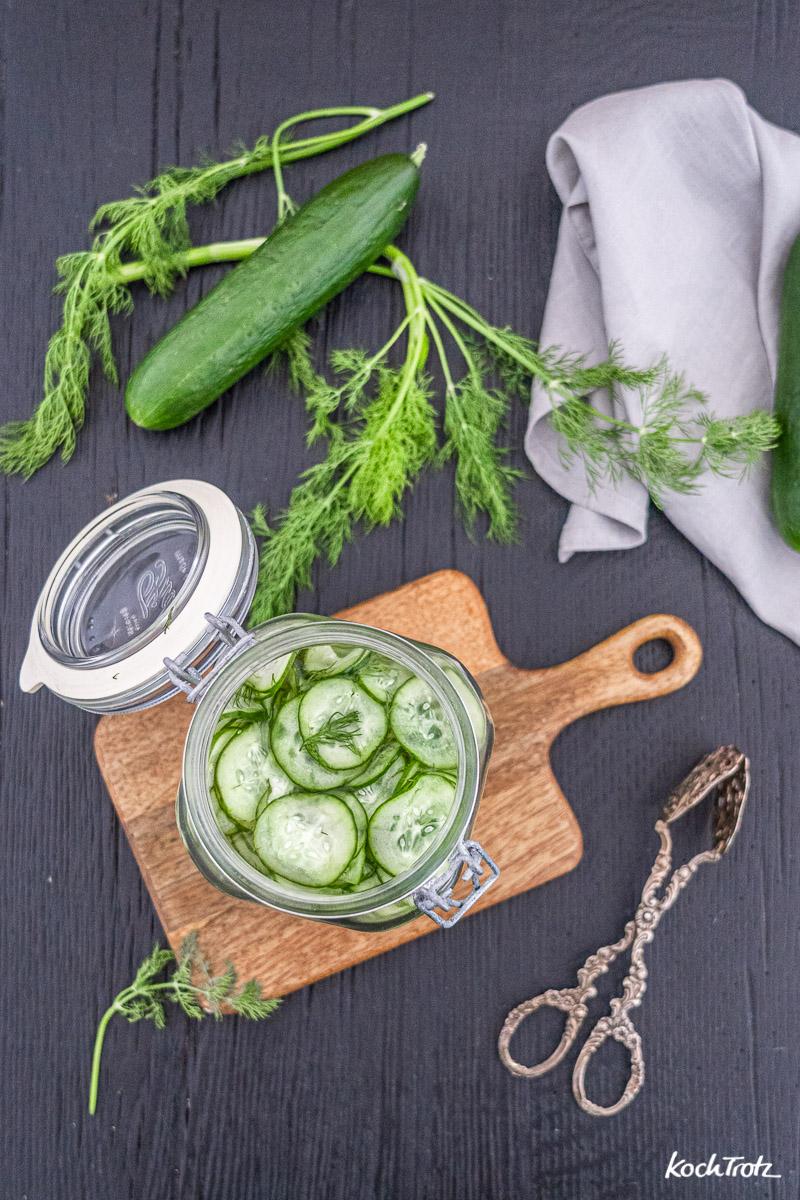 Schnelle Essiggurken in nur 6 Stunden mit 5 Zutaten | histaminarm | fructosearm | vegan