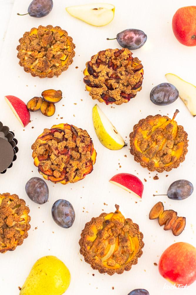 Streusel-Tartelettes mit Früchten | glutenfrei | laktosefrei | eifrei | optional vegan