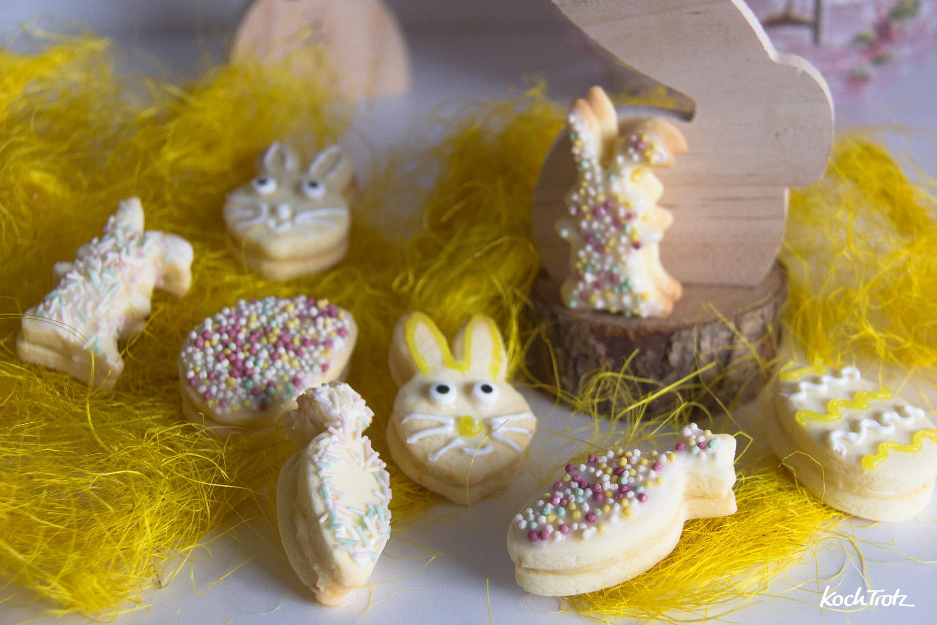 glutenfreie Osterkekse | zitronige Doppelkekse mit weisser Schokoladenfüllung