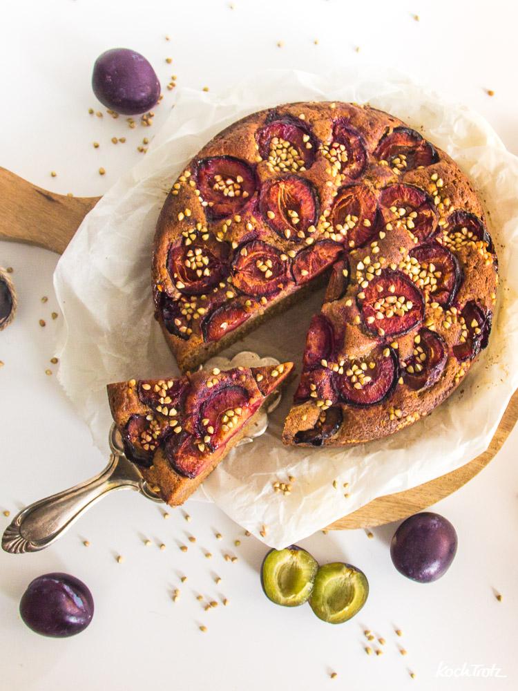 Saftiger Zwetschgen-Rührkuchen | glutenfrei | optional vegan