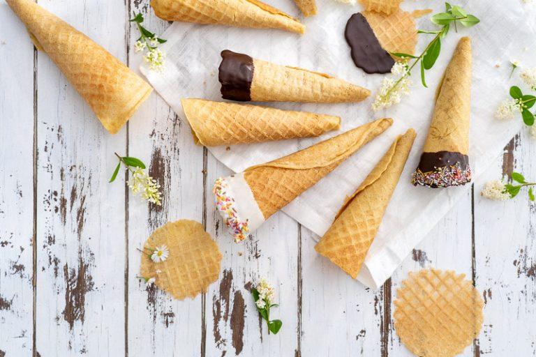 knusprige glutenfreie Eiswaffeln Rezept wahlweise vegan
