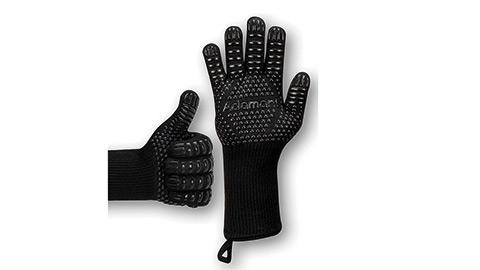 Adamant Grillhandschuhe hitzebeständig bis 800 Grad mit Magnetschlaufen extra lang schwarz | Grill Handschuh Universalgröße