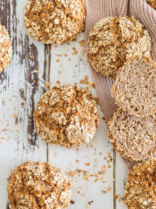 Brötchen mit Haferflocken, ohne Mehl, einfaches Rezept